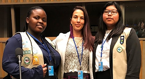 Heidi Schmidt with Sentia, left, and Daisy, at the United Nations's 63rd session of the Commission on the Status of Women