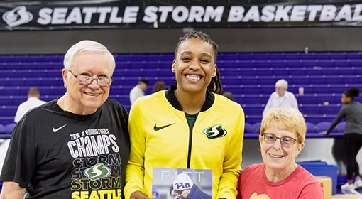 Pitt Magazine makes its WNBA debut with the help of Seattle Storm guard (and former Pitt basketball player) Shavonte Zellous CGS '08 and superfans Stewart and Amy Ridgeway CGS '80.