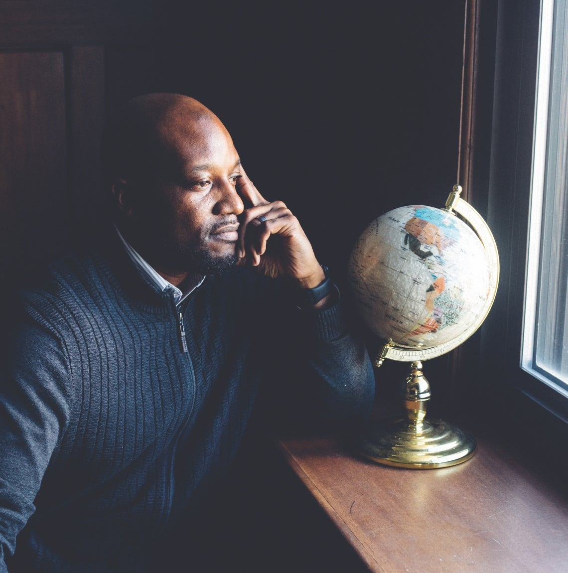 Kenyon Bonner and a globe